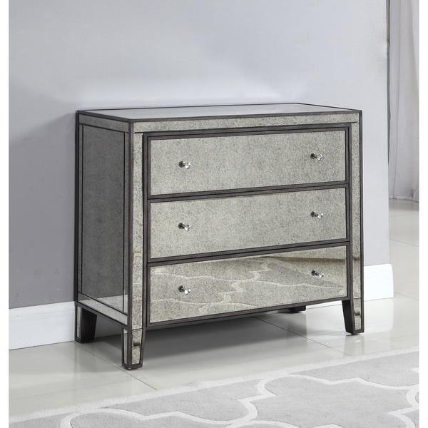 Best Master Furniture Grey Wood Mirrored 3-drawer Chest