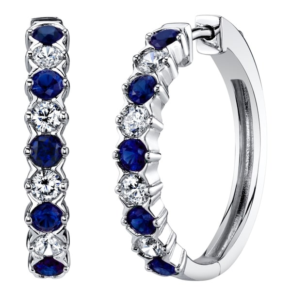 1650e0128 Shop Sterling Silver Created Sapphire Alternating Hoop Earrings 1.5 Carats  - Free Shipping Today - Overstock - 23056262