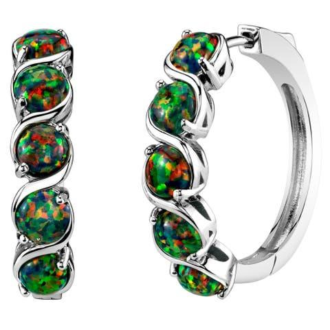 Sterling Silver Created Black Opal Hoop Earrings 2.5 Carats