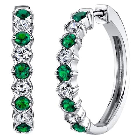 Sterling Silver Simulated Emerald Alternating Hoop Earrings 1.5 Carats