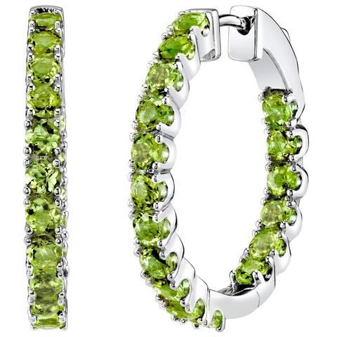 Sterling Silver Peridot Inside-Out Hoop Earrings 4.5 Carats