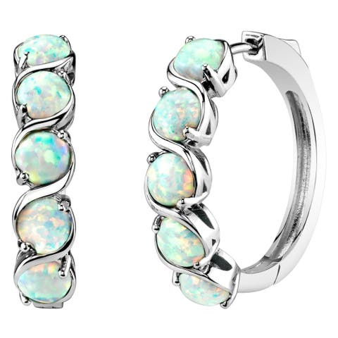 Sterling Silver Created White Opal Hoop Earrings 2.5 Carats