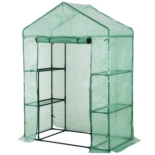 Outsunny 4.5 x 2.5 x 6.5 2 Tier 4 Shelf Outdoor Portable Walk-In Greenhouse - Forest green