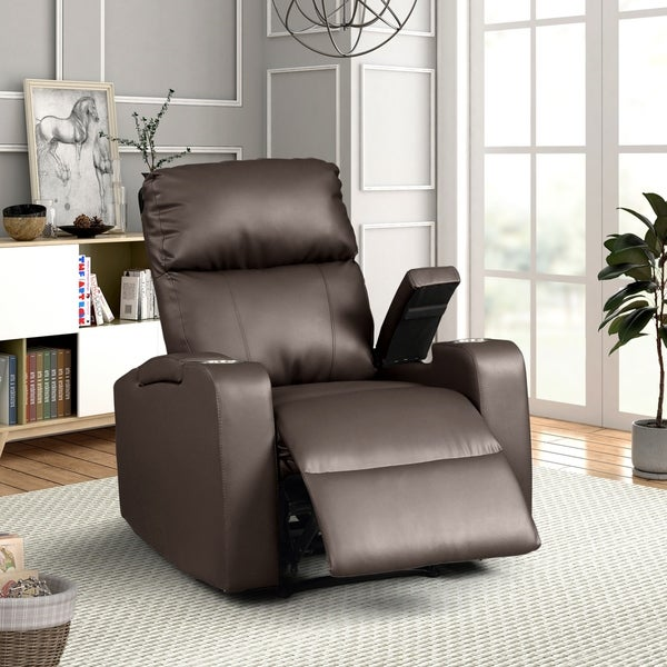 Shop Modern Terry Upholstered Faux Leather Power Recliner