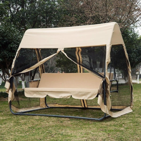 Outsunny 3 Seat Outdoor Covered Convertible Swing Chair Bed With Mosquito Netting