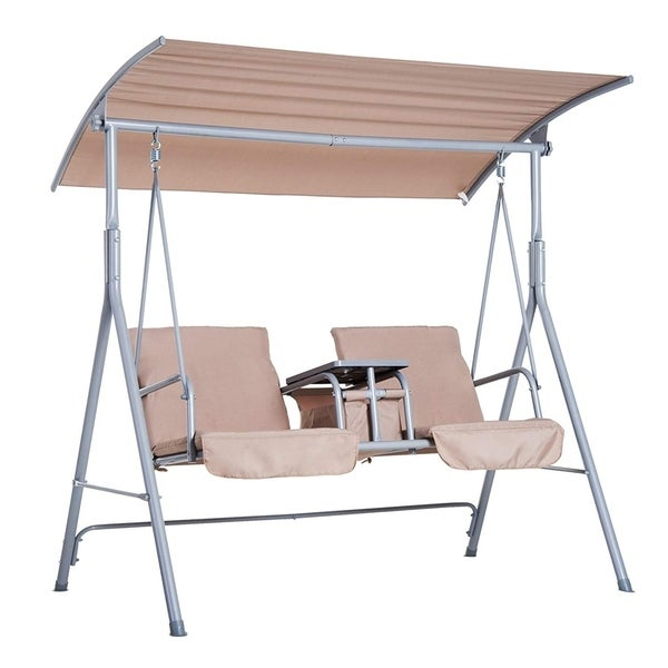 Outsunny 2 Person Water-Resistant Covered Patio Swing with Center Pivot Table & Underneath Storage Console, Beige