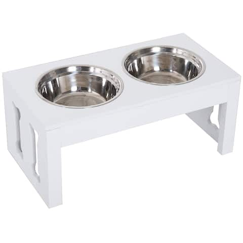 "PawHut 23"" Modern Decorative Dog Bone Wooden Heavy Duty Pet Food Bowl Elevated Feeding Station - White"