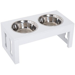 "Link to PawHut 23"" Modern Decorative Dog Bone Wooden Heavy Duty Pet Food Bowl Elevated Feeding Station - White Similar Items in Dog Feeders & Waterers"