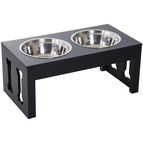 "PawHut 23"" Modern Decorative Dog Bone Wooden Heavy Duty Pet Food Bowl Elevated Feeding Station - Black. Opens flyout."