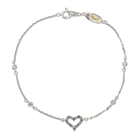 Suzy Levian Sterling Silver Sapphire & Diamond Heart Station Bracelet