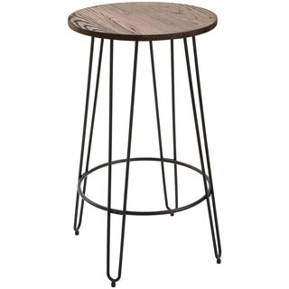 "HomCom 42"" Retro Round Elm Wood Top Lightweight Steel Pub Bistro Patio Table"