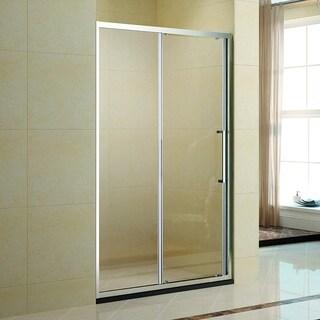 """Kleankin 39.5"""" x 75"""" Alumiunum Semi Framed Bypass Sliding Glass Door Shower Kit - Transparent / Silver"""