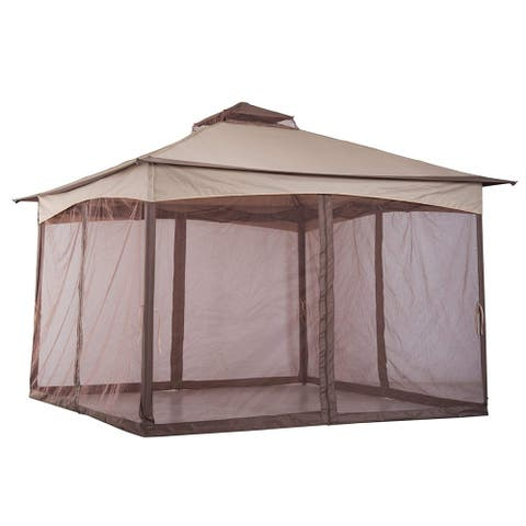 Outsunny Tan 11-foot x 11-foot Outdoor Folding Portable Pop-up Gazebo with Zippered Netting