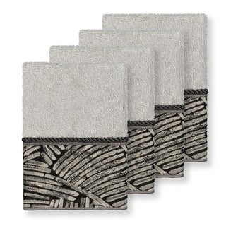 Authentic Hotel and Spa Turkish Cotton Fern Jacquard Trim Light Grey 4-piece Washcloth Set