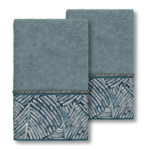 Authentic Hotel and Spa Turkish Cotton Fern Jacquard Trim Teal Blue 2-piece Hand Towel Set