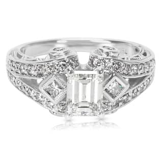 Pre-Owned IGI Certified Emerald Cut Diamond Engagement Ring in 18K White Gold (1.67 CTW)