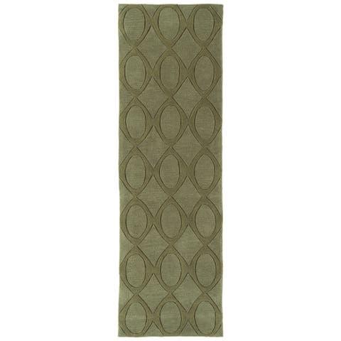 "Rachael Ray Soho SOH03-23 Olive Polyacrylic Rug by Kaleen - 2'6"" x 8'"