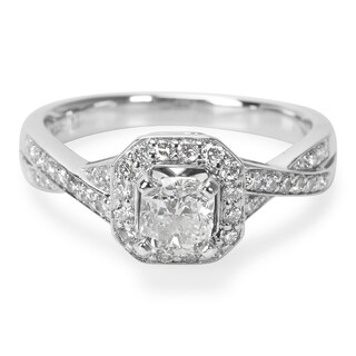 Pre-Owned GSI Certified Cushion Diamond Engagement Ring in 14KT White Gold 1.00 ctw