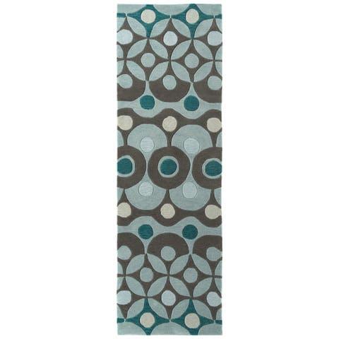 "Rachael Ray Soho SOH07-91 Teal Polyacrylic Rug by Kaleen - 2'6"" x 8'"