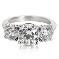 Pre-Owned Tiffany & Co. Three Stone Round Cut Diamond Engagement Ring (4.69 CTW)