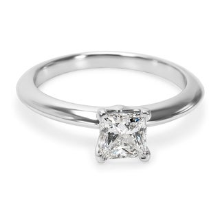 Pre-Owned Tiffany & Co. Solitaire Princess Diamond Engagement Ring in Platinum 0.53 ct