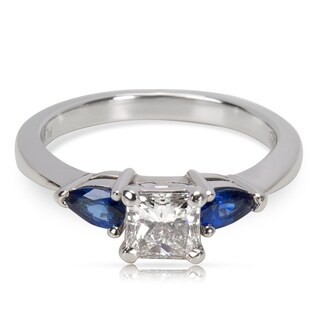 Pre-Owned Blue Nile Diamond & Blue Sapphire 3-Stone Engagement Ring in Platinum