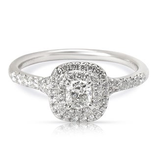 Pre-Owned Tiffany & Co. Soleste Diamond Double Halo Engagement Ring in Platinum (0.49 CTW)