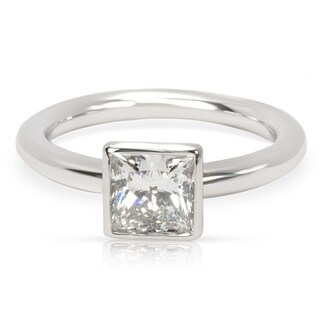 Pre-Owned Tiffany & Co. Princess Cut Bezel Set Diamond Engagement Ring in Platinum