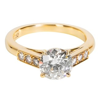 Pre-Owned Cartier Round Diamond Engagement Ring in 18KT Yellow Gold Center 1.51 H VS1