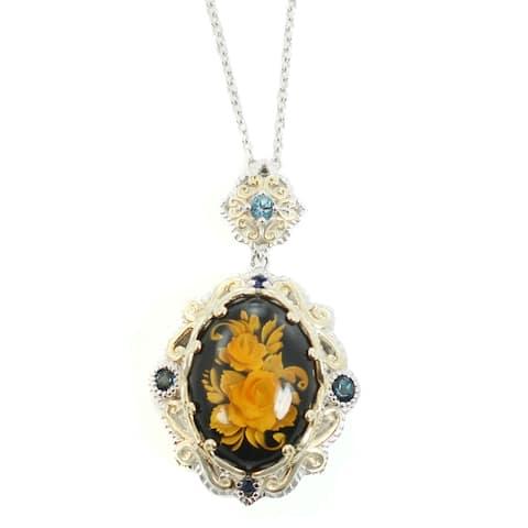 Gems en Vogue Palladium Silver Amber, London Blue Topaz & Blue Sapphire Pendant