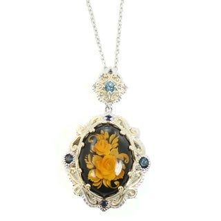 Link to Gems en Vogue Palladium Silver Amber, London Blue Topaz & Blue Sapphire Pendant Similar Items in Rings
