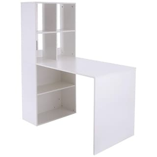 """Vinsetto 57"""" Modern Space Saving Home Office Work Table Computer Desk and Bookcase Combo  - White"""