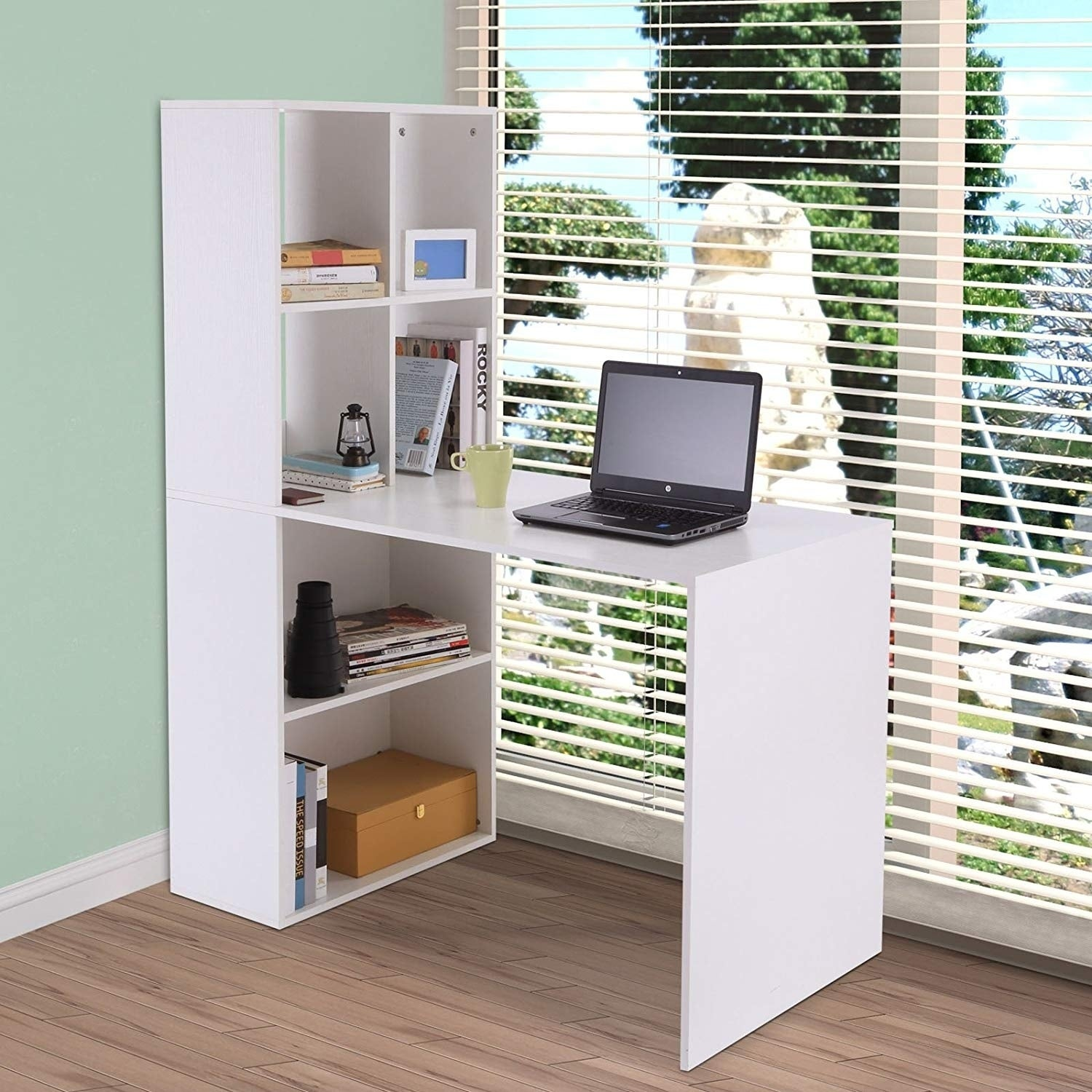 Vinsetto 57 Modern Space Saving Home Office Work Table Computer Desk And Bookcase Combo White