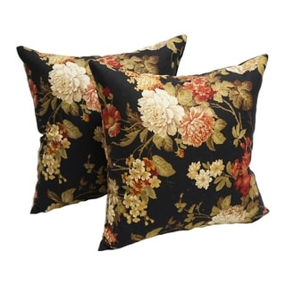Midnight Bloom 17-inch Accent Throw Pillows (Set of 2)