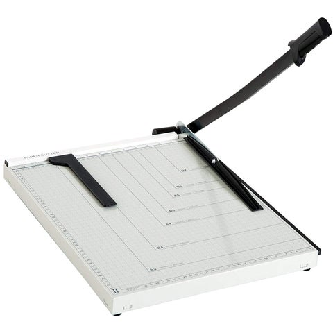 "HomCom 12-Sheet Capacity Guillotine Paper Cutter Trimmer With 18"" Cut Length MDF Blade - White / Black"