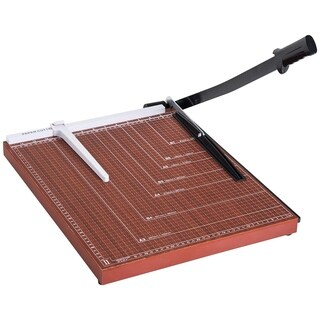 "HomCom 12-Sheet Capacity Guillotine Paper Cutter Trimmer With 18"" Cut Length MDF Blade - Brown / Black"