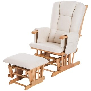 HomCom 2 Piece Ultra-Plush Reclining Rocking Chair With Gliding Ottoman Set - White / Natural Wood