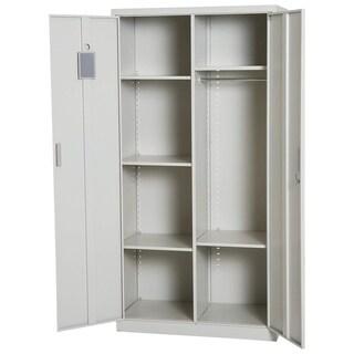 "HomCom 71"" Tall Lockable Steel Garage Cabinet Organizer Wardrobe With 5 Adjustable Shelves - Cream White"