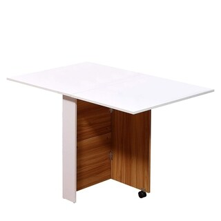 HomCom Oak/ White Wood/ Metal Compact Rolling Folding Dining Table