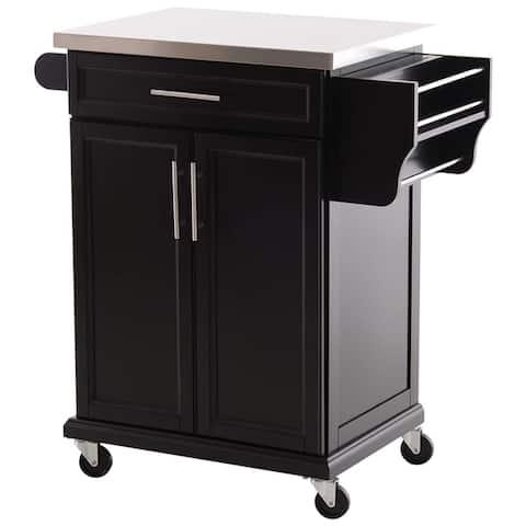 HomCom Wood Stainless Steel Multi- Storage Rolling Kitchen Island Utility Cart with Wheels - Black
