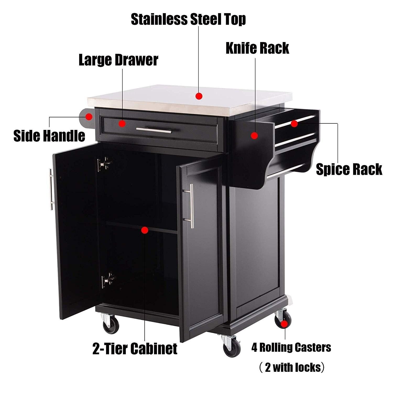 Homcom Wood Stainless Steel Multi Storage Rolling Kitchen Island Utility Cart With Wheels Black