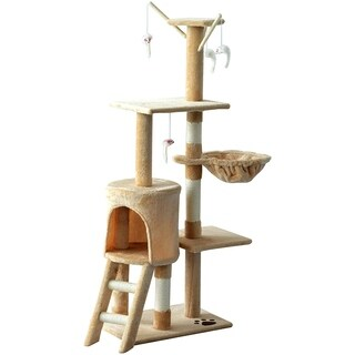 "PawHut 52"" Plush Sturdy Interactive Cat Condo Tower Scratching Post Activity Tree House - Beige"