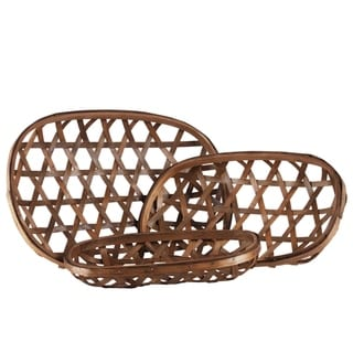 UTC57407: Wood Oval Tobacco Basket with Octagon Pattern Design Set of Three Natural Finish Brown