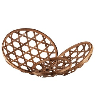 UTC57406: Wood Round Tobacco Basket with Octagon Pattern Design Set of Three Natural Finish Brown
