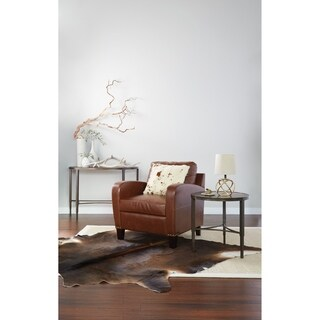 INSPIRED by Bassett Jacob Club Chair in Saddle Bonded Leather with Dark Espresso Legs and Antique Bronze Nail heads K/D