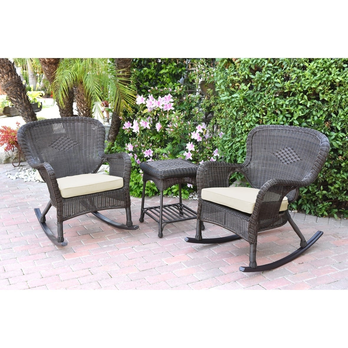 Enjoyable Windsor Espresso Wicker Rocker Chair And End Table Set With Chair Cushion Gamerscity Chair Design For Home Gamerscityorg