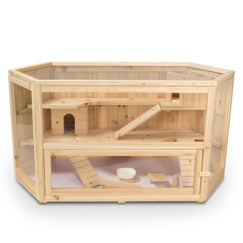 ALEKO Deluxe Fir Wood 3-Tier Hamster Large Cage 44 x 24 x 23 in