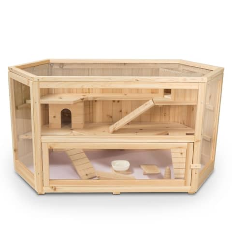 ALEKO Deluxe Fir Wood 3-Tier Hamster Large Cage 44 x 24 x 23 in - 44 x 24 x 23 inches