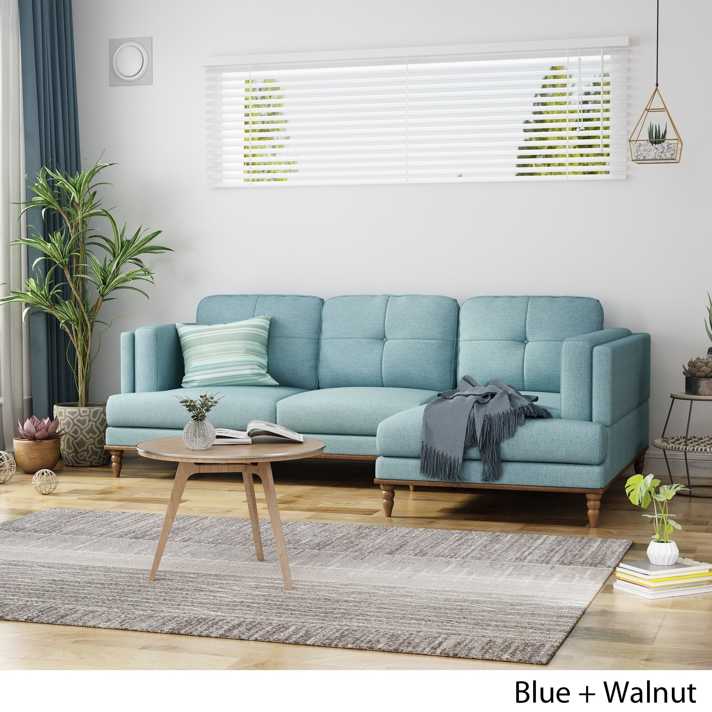 Shop Black Friday Deals On Hollyhock Contemporary Button Tufted Upholstered 3 Seater Chaise Lounge Sofa Set With Turned Legs By Christopher Knight Home Overstock 23057845 Walnut Blue Cushion