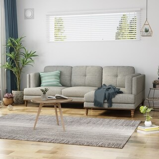 Hollyhock Sectional Couch Set with Chaise Lounge 3-Seater Upholstered Birch Legs by Christopher Knight Home